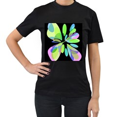 Green abstract flower Women s T-Shirt (Black) (Two Sided)