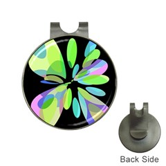 Green abstract flower Hat Clips with Golf Markers