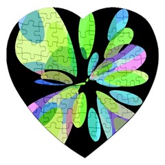 Green abstract flower Jigsaw Puzzle (Heart)