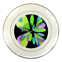 Green abstract flower Porcelain Plates