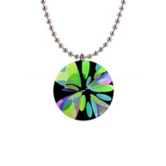 Green abstract flower Button Necklaces