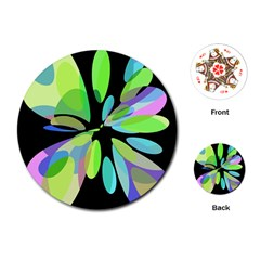Green abstract flower Playing Cards (Round)