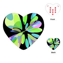 Green abstract flower Playing Cards (Heart)