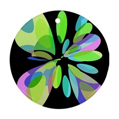 Green abstract flower Round Ornament (Two Sides)