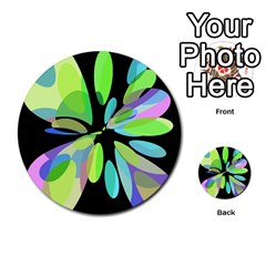 Green abstract flower Multi-purpose Cards (Round)