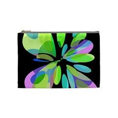 Green abstract flower Cosmetic Bag (Medium)