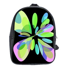 Green abstract flower School Bags(Large)