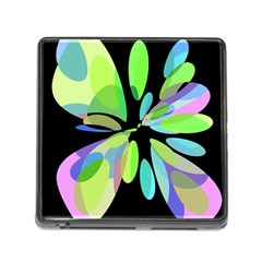 Green abstract flower Memory Card Reader (Square)