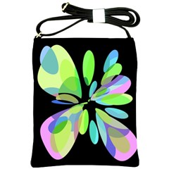 Green abstract flower Shoulder Sling Bags