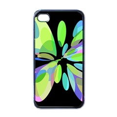 Green abstract flower Apple iPhone 4 Case (Black)