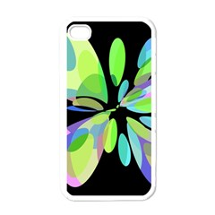 Green abstract flower Apple iPhone 4 Case (White)
