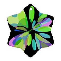 Green abstract flower Snowflake Ornament (2-Side)