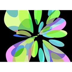 Green abstract flower Birthday Cake 3D Greeting Card (7x5)