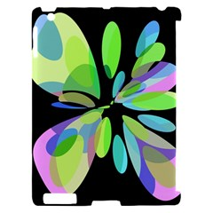 Green abstract flower Apple iPad 2 Hardshell Case (Compatible with Smart Cover)