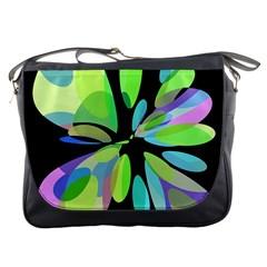 Green abstract flower Messenger Bags