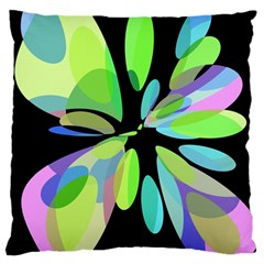 Green abstract flower Large Cushion Case (Two Sides)