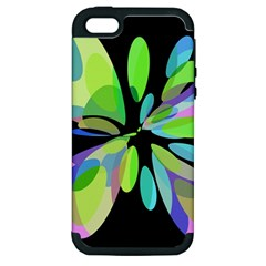 Green abstract flower Apple iPhone 5 Hardshell Case (PC+Silicone)