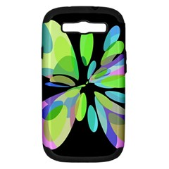 Green abstract flower Samsung Galaxy S III Hardshell Case (PC+Silicone)