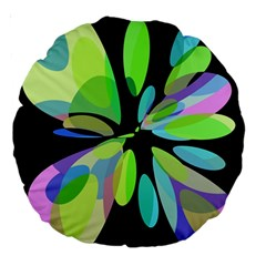 Green abstract flower Large 18  Premium Round Cushions