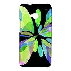 Green abstract flower HTC One M7 Hardshell Case