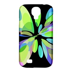 Green abstract flower Samsung Galaxy S4 Classic Hardshell Case (PC+Silicone)