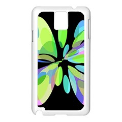 Green abstract flower Samsung Galaxy Note 3 N9005 Case (White)