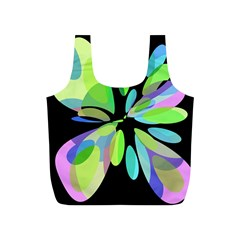 Green abstract flower Full Print Recycle Bags (S)