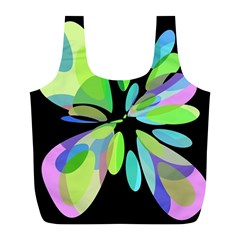 Green abstract flower Full Print Recycle Bags (L)