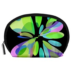 Green abstract flower Accessory Pouches (Large)