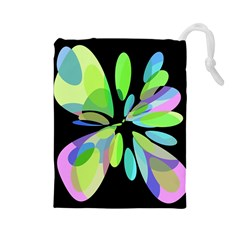 Green abstract flower Drawstring Pouches (Large)