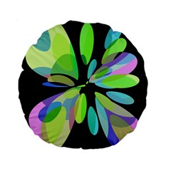 Green abstract flower Standard 15  Premium Flano Round Cushions