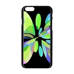 Green abstract flower Apple iPhone 6/6S Black Enamel Case