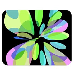 Green abstract flower Double Sided Flano Blanket (Medium)