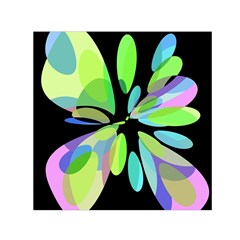 Green abstract flower Small Satin Scarf (Square)