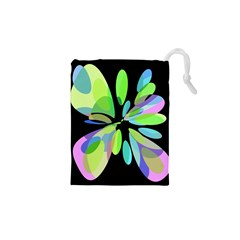 Green Abstract Flower Drawstring Pouches (xs)