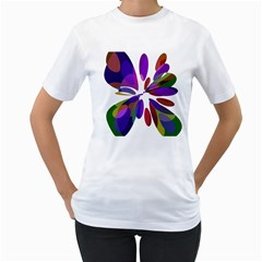 Colorful abstract flower Women s T-Shirt (White) (Two Sided)