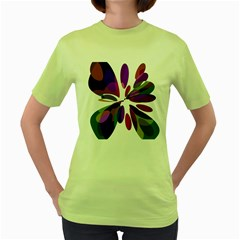 Colorful abstract flower Women s Green T-Shirt