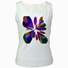 Colorful abstract flower Women s White Tank Top