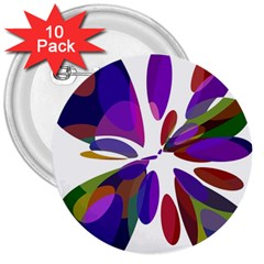 Colorful abstract flower 3  Buttons (10 pack)