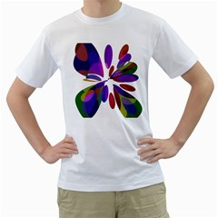 Colorful abstract flower Men s T-Shirt (White) (Two Sided)