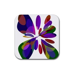 Colorful abstract flower Rubber Coaster (Square)