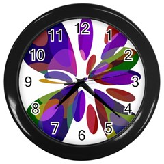 Colorful abstract flower Wall Clocks (Black)