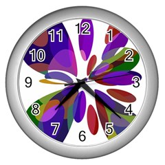 Colorful abstract flower Wall Clocks (Silver)