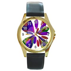 Colorful abstract flower Round Gold Metal Watch