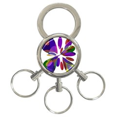 Colorful abstract flower 3-Ring Key Chains