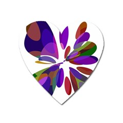 Colorful abstract flower Heart Magnet
