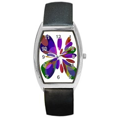 Colorful abstract flower Barrel Style Metal Watch