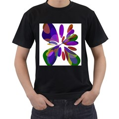Colorful abstract flower Men s T-Shirt (Black) (Two Sided)