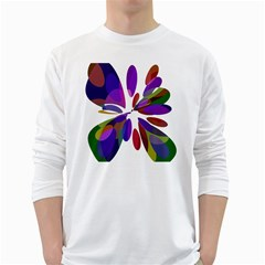 Colorful abstract flower White Long Sleeve T-Shirts