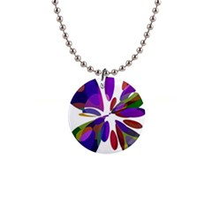 Colorful abstract flower Button Necklaces